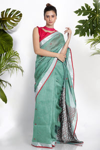 BLUE BLENDED LINEN SAREE WITH WOVEN DESIGN