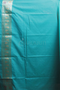 CYAN BLUE BANARASI WITH MULTICOLOUR MINAKARI WORK