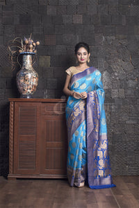 SKY BLUE  MANIPURI SILK WITH ROYAL BLUE ZARI BORDER AND PALLU