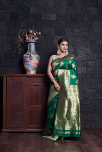 SACRAMENTO GREEN BANARASI HANDLOOM SAREE WITH ZARI