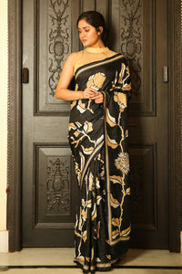 Black Katan Silk Saree with Kantha Work