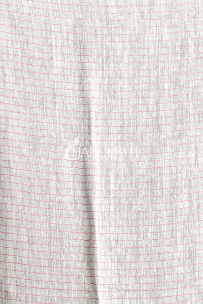 WHITE MATKA SILK SAREE WITH PINK CHECKERED DESIGN - Charukriti