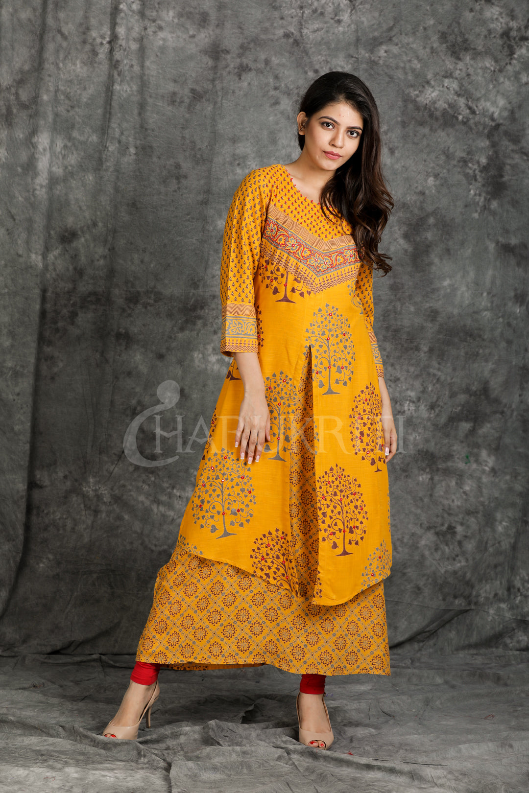 Yellow Double Layered Embroidered Kurti