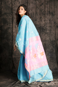 SKY BLUE AND BABY PINK HANDLOOM SAREE WITH WOVEN DESIGN