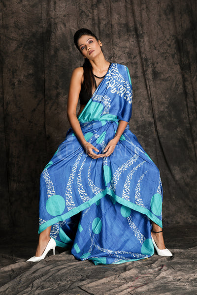 CYAN AND NEON BLUE ABSTRACT PRINTED SILK SAREE - Charukriti