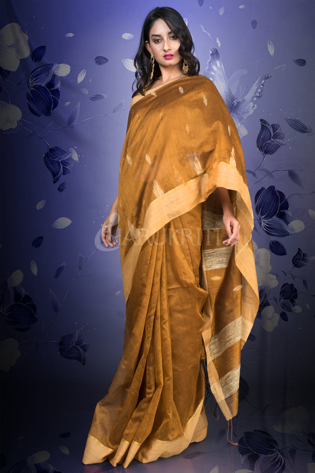 DIJON YELLOW BLENDED COTTON SAREE WITH WOVEN PALLU