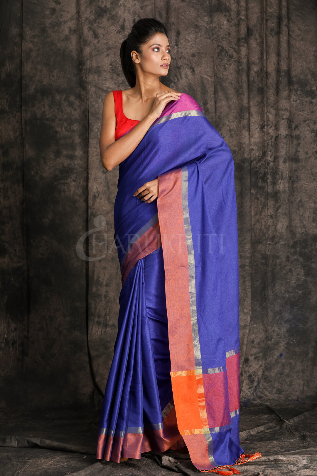INDIGO BLUE COTTON HANDLOOM SAREE WITH ORANGE BORDER