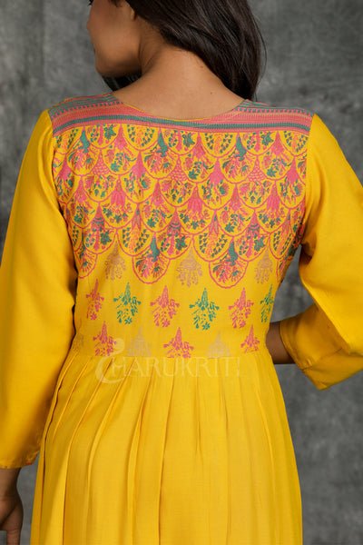 Yellow Rayon Long Dress with Multi Colour Floral Print