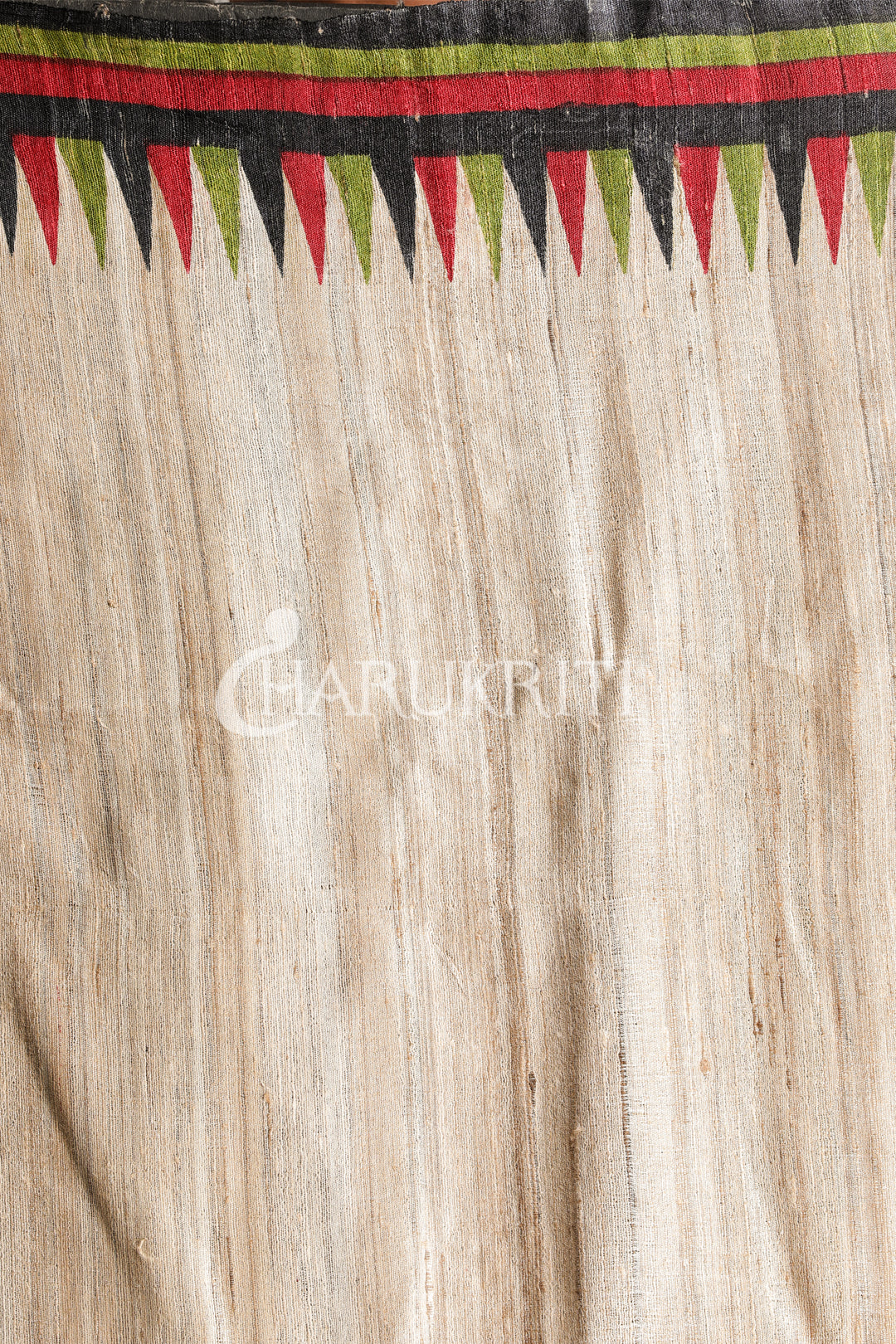OFF WHITE PRINTED TUSSAR WITH METRO BORDER