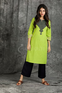Fluroscent Green and Blue Geometric Kantha Embroidered Kurti