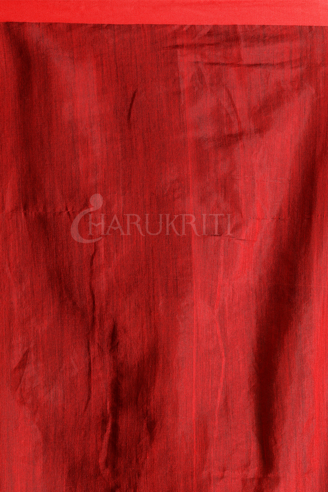 BLACK AND RED TEXTURED SILK SAREE - Charukriti