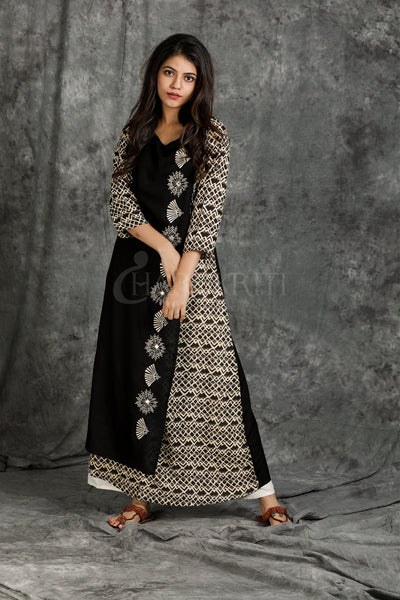 Black Resham with Foil Mirror Worked Overlapping Kurti