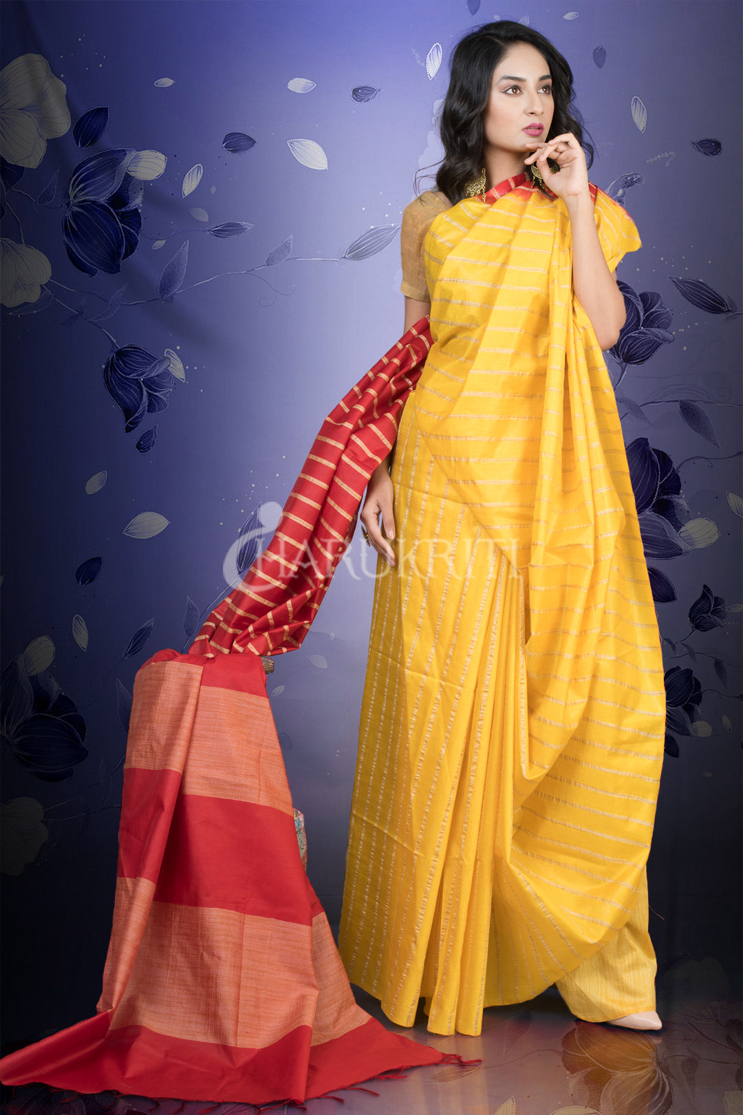 YELLOW BLENDED COTTON WITH GHICHA STRIPES AND RED PALLU