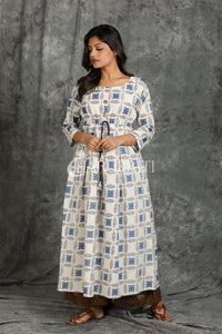 Off-White and Blue Gold Printed Kurti