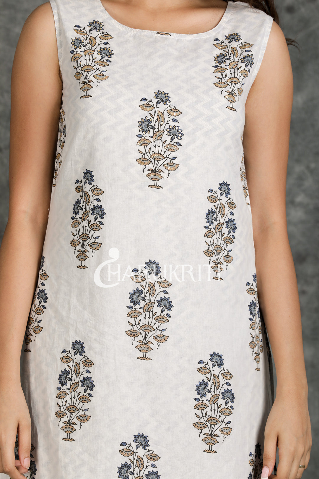 Floral Printed sequined Kurti with Printed Palazzo - Charukriti
