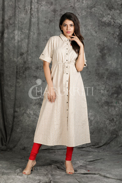 Beige gold check printed kurti with embroidery on Yoke - Charukriti