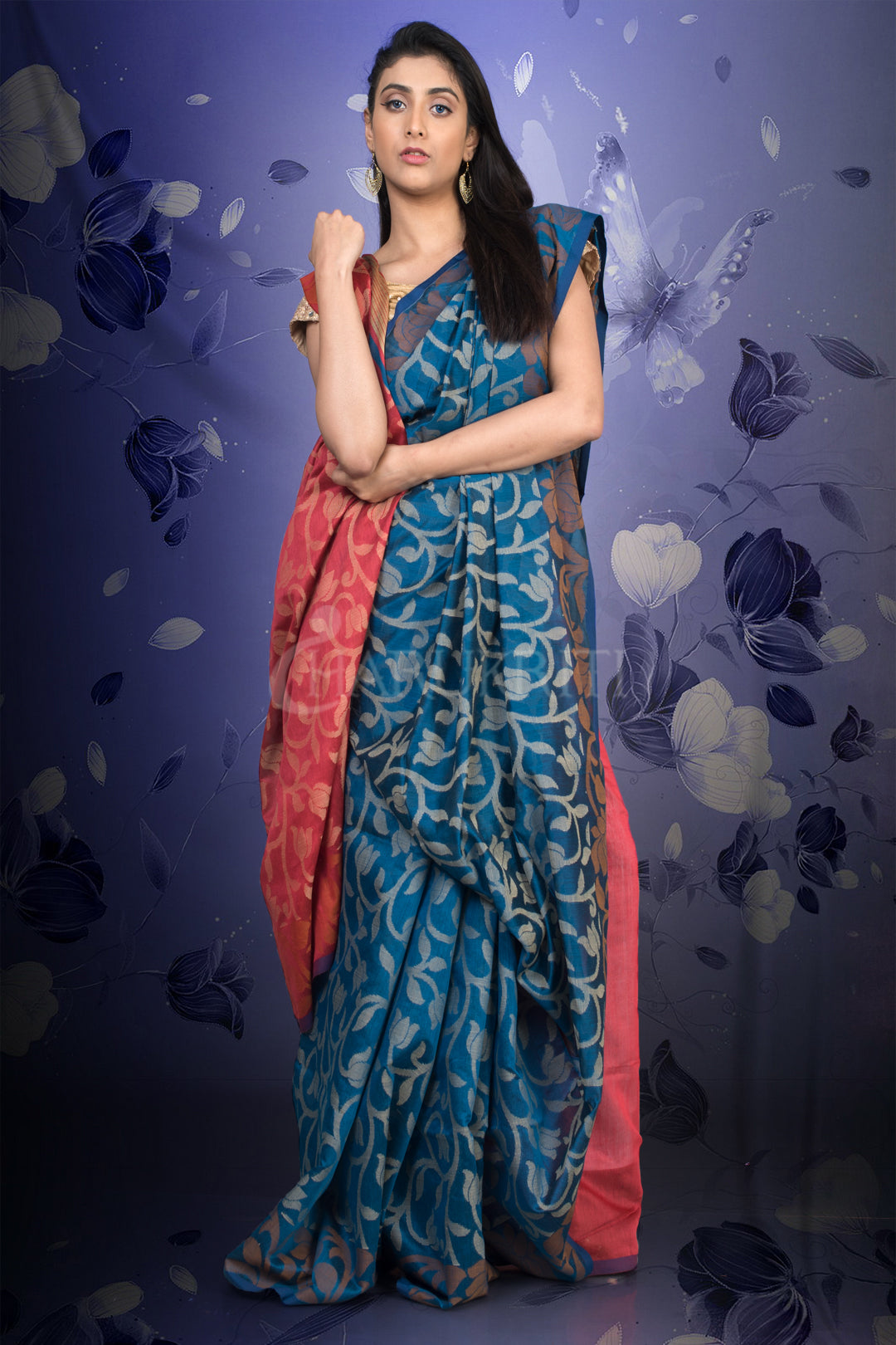 EGYPTIAN BLUE BLENDED COTTON JAMDANI WITH ROUGH PINK PALLU