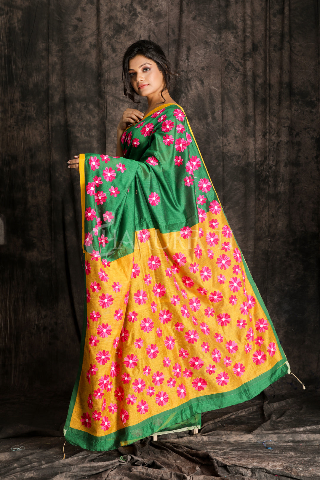 SEAWEED GREEN AND ROYAL YELLOW BLENDED COTTON SAREE WITH ARI WORK