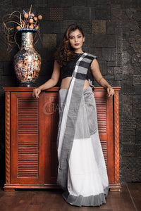 GREY AND WHITE HALF HANDLOOM SAREE WITH BORDER