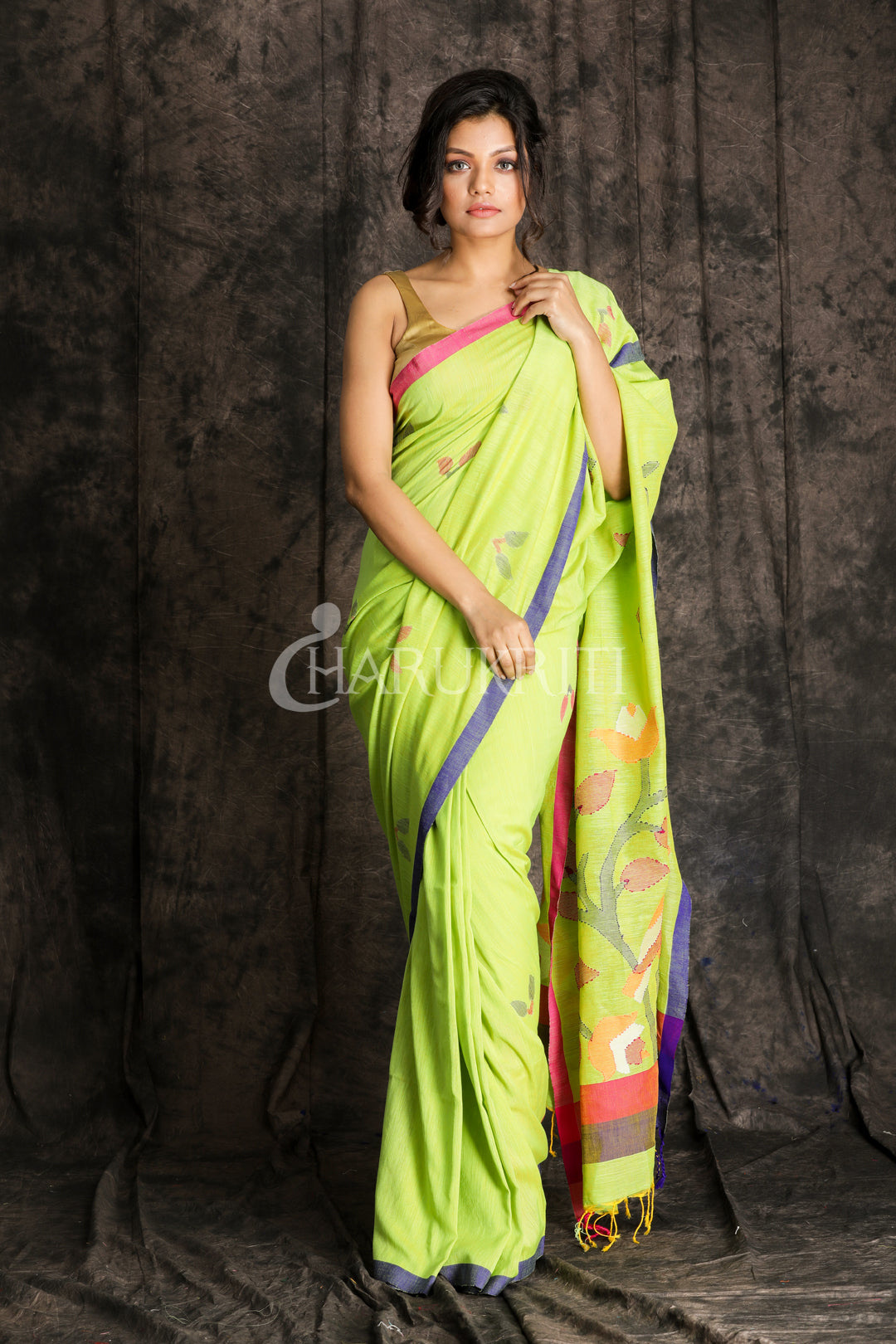 LIME GREEN PURE COTTON SAREE WITH JAMDANI WEAVING