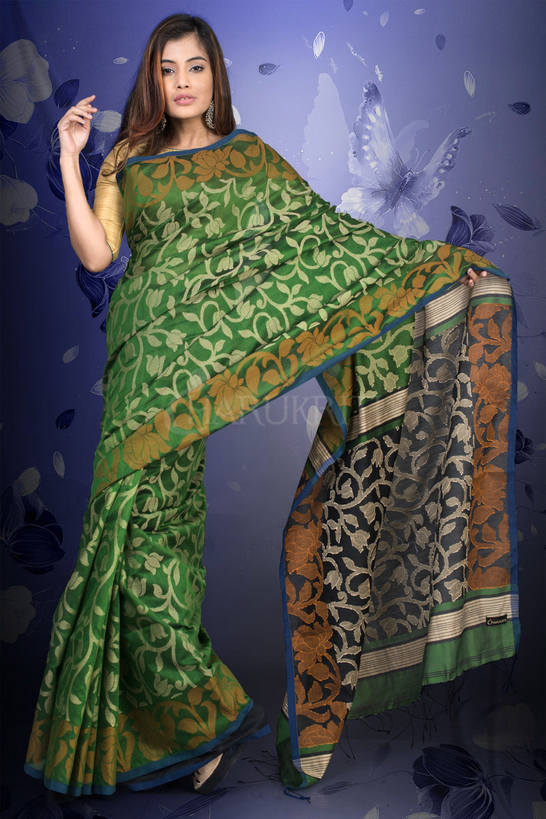 JUNIPER GREEN BLENDED COTTON JAMDANI WITH BLACK PALLU