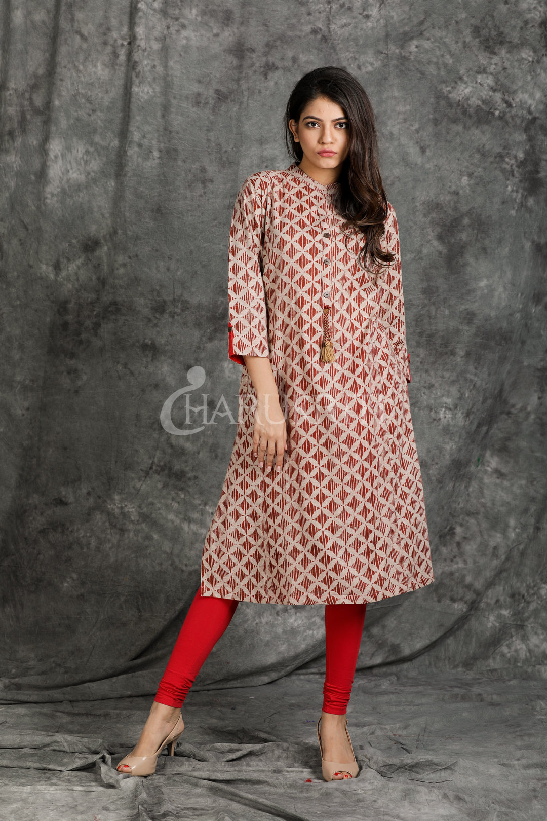 Grey Pure Cotton Collered Kurti with Red Borders