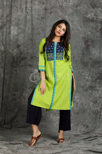 fluorescent green and blue ari stitched patch with foil mirror cotton kurti - Charukriti