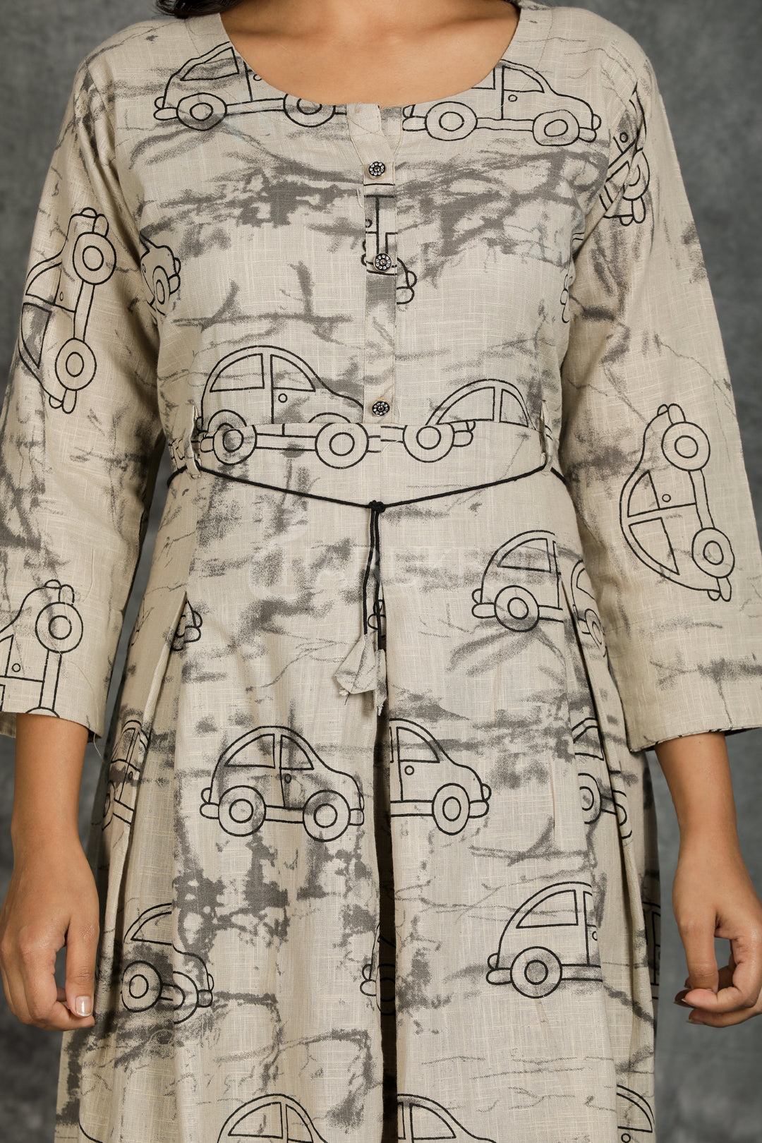 Textured Cotton Kurti with Tie-up Belt