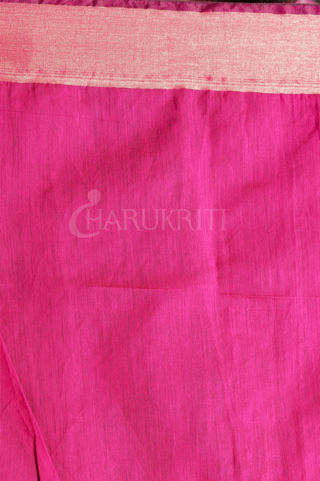 YELLOW BLENDED COTTON SAREE WITH MAGENTA MIRROR WORK - Charukriti
