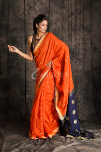 ORANGE BLENDED ZARI BUTI COTTON SAREE WITH NEVY BLUE ZARI WORKED PALLU - Charukriti