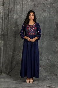 Prussian Blue Long Dress with Kantha Stitch and Floral Work