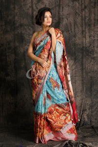 SKY BLUE PRINTED LINEN SAREE WITH BORDER