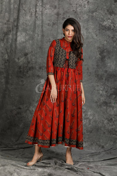 Maroon Ananrkali Kurti with Printed Waist Coat