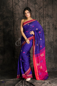 BLUE AND PINK BLENDED COTTON HANDLOOM SAREE WITH WOVEN DESIGN AND POMPOM