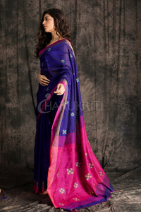 NAVY BLUE BLENDED COTTON SAREE WITH CHECKERED WOVEN DESIGN