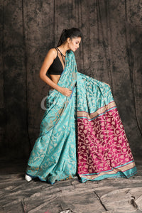 TEAL BLUE BLENDED COTTON JAMDANI WITH PALM PALLU