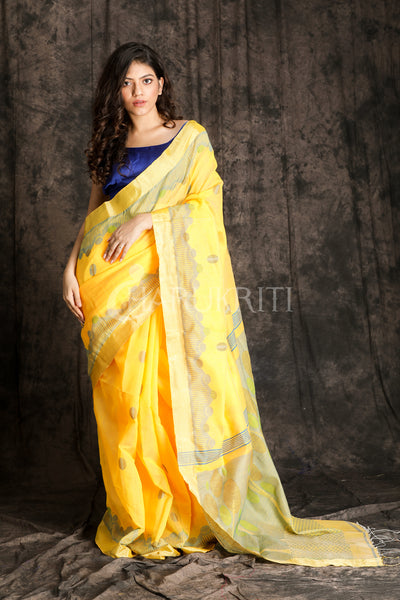 PASTEL YELLOW HANDLOOM WITH ZARI - Charukriti