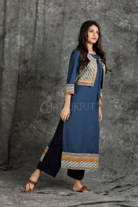 Teal Blue Printed Bordered Long Kurti with Printed Waist-Coat