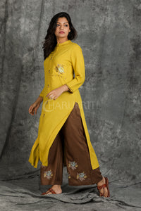Medallion Yellow Cross Stitched Kurti with Brown Cross Stitched Palazzo