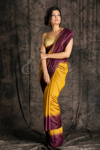 MUSTERED YELLOW WITH WIDE PURPLE BORDER