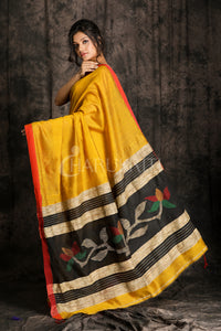 MELLOW YELLOW BLENDED COTTON SAREE WITH WOVEN DESIGN IN PALLU
