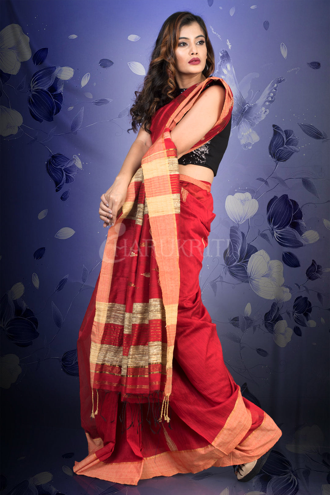 CURRANT RED BLENDED COTTON SAREE WITH WOVEN PALLU
