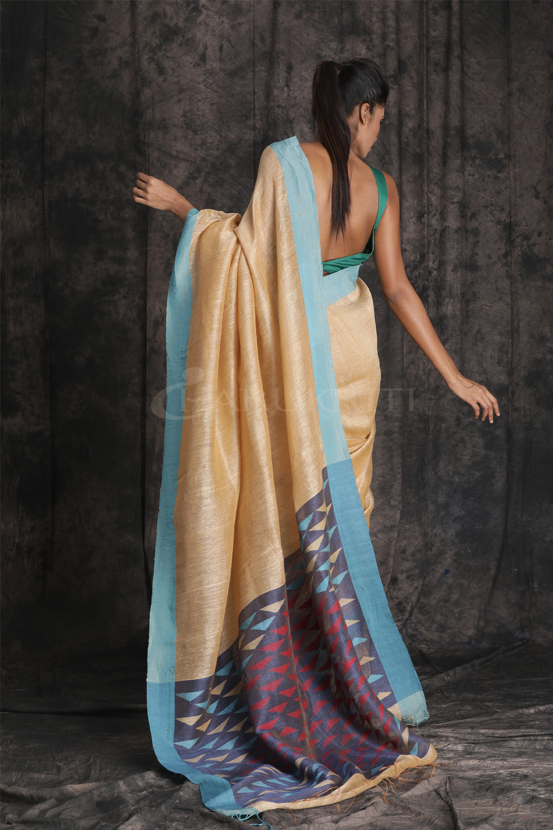 Beige Matka Saree with Woven Pallu