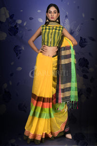 YELLOW COTTON SAREE WITH MULTICOLORED MIDDLE BORDER