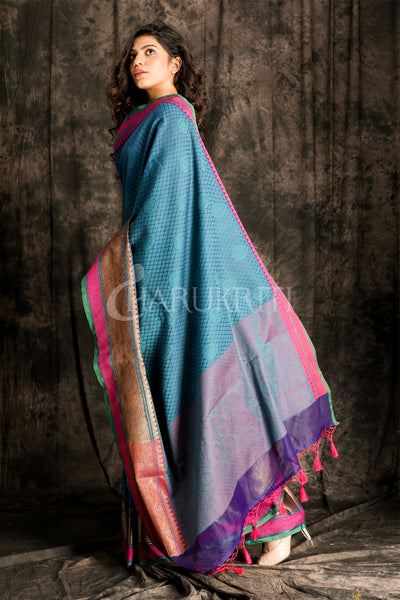 PEACOCK  BLUE BENARASI  COTTON SAREE WITH PINK BORDER - Charukriti