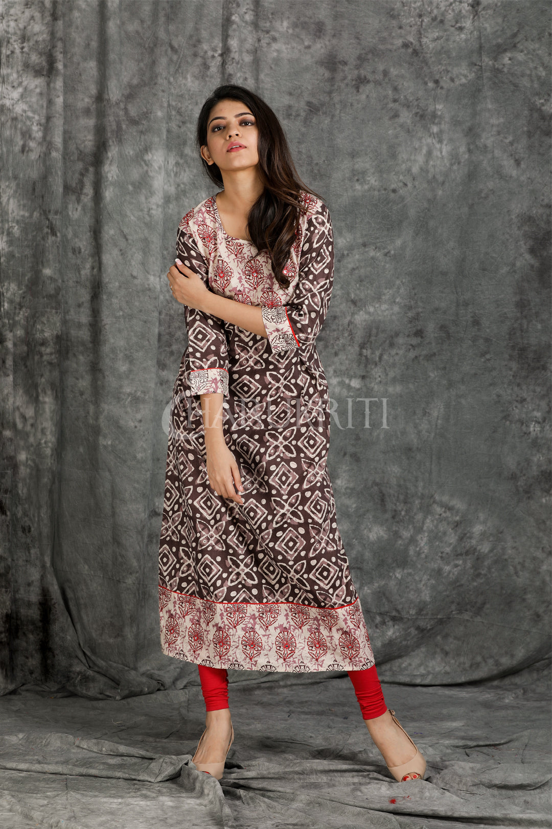 Resham Embroidered Printed Long Kurti