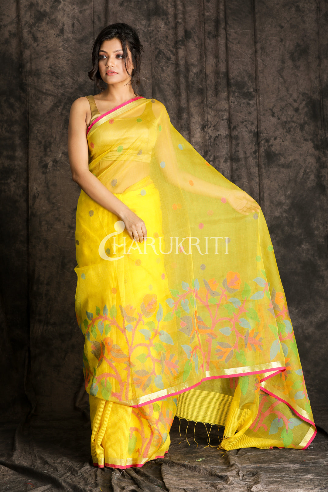 BUMBLE BEE YELLOW RESHAM JAMDANI SAREE WITH MAGENTA BORDER