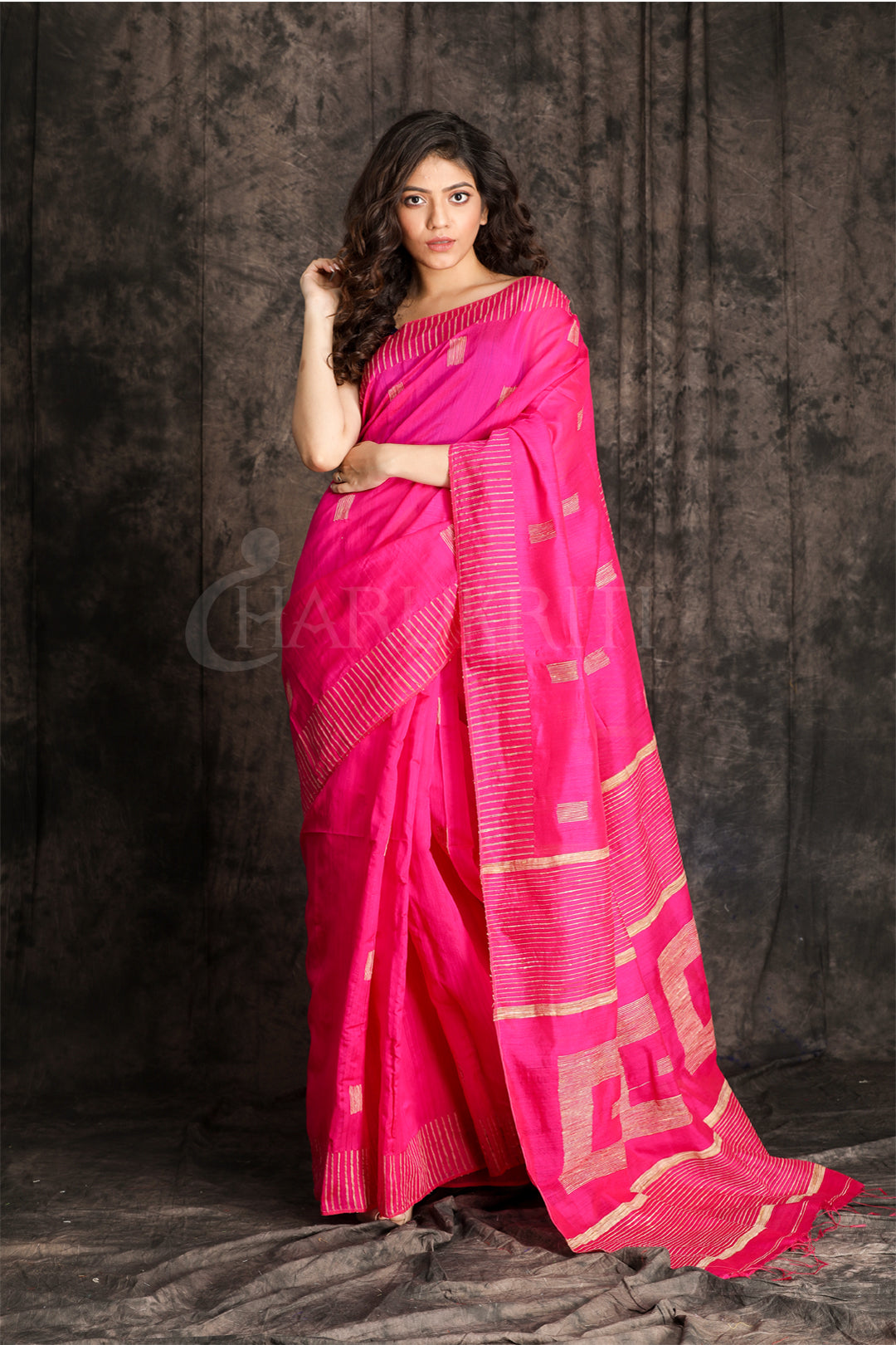 FUCHSIA PINK BLENDED COTTON SAREE WITH WOVEN GHICHA