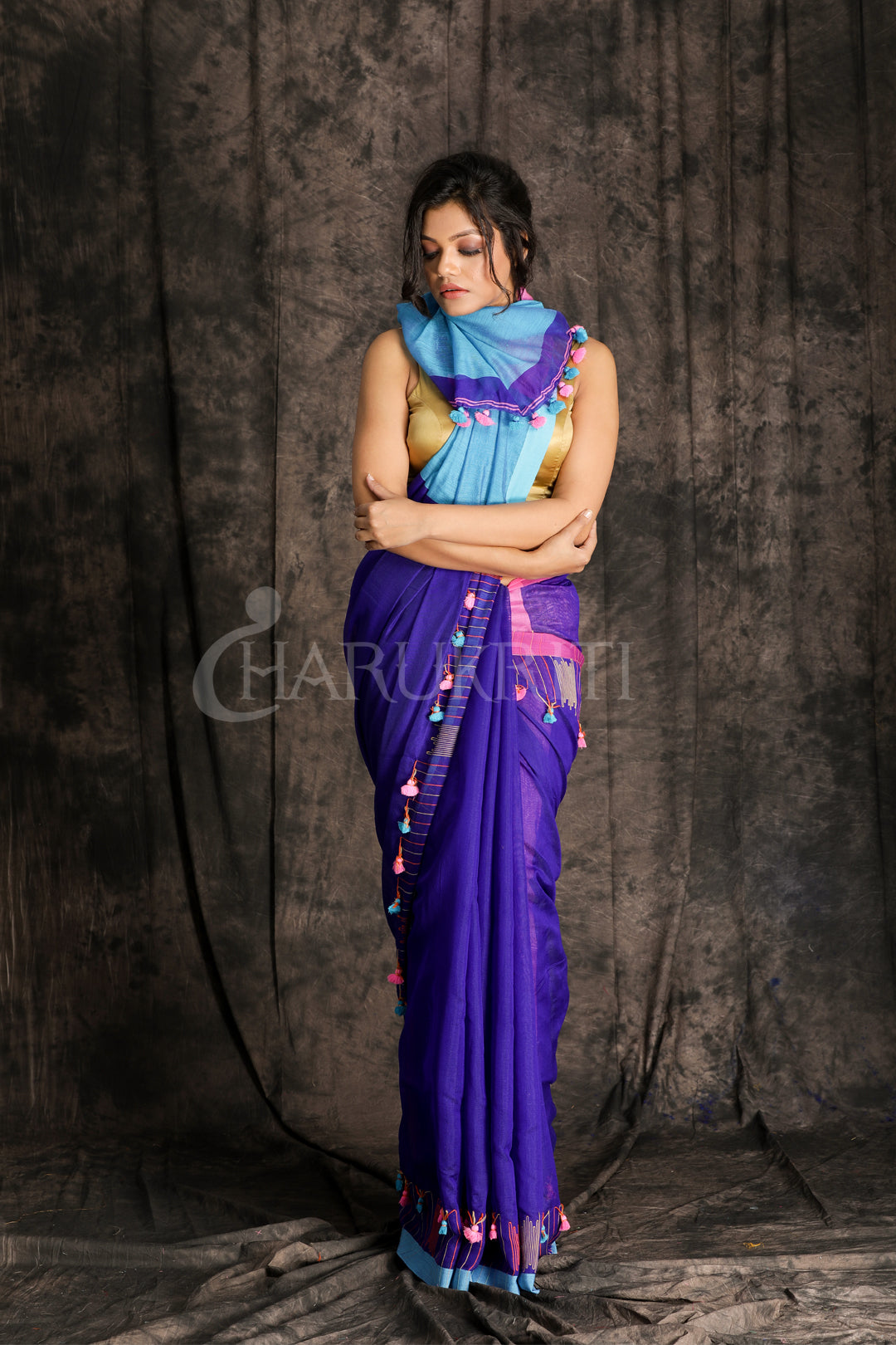 Blue Blended Cotton Saree With Pompom
