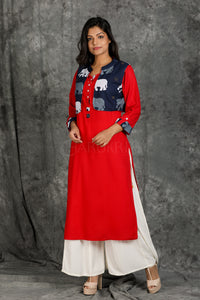 Vermillion Red Cotton Kurti with Running Stitch and Sequins with Elephant motif Waist Coat - Charukriti